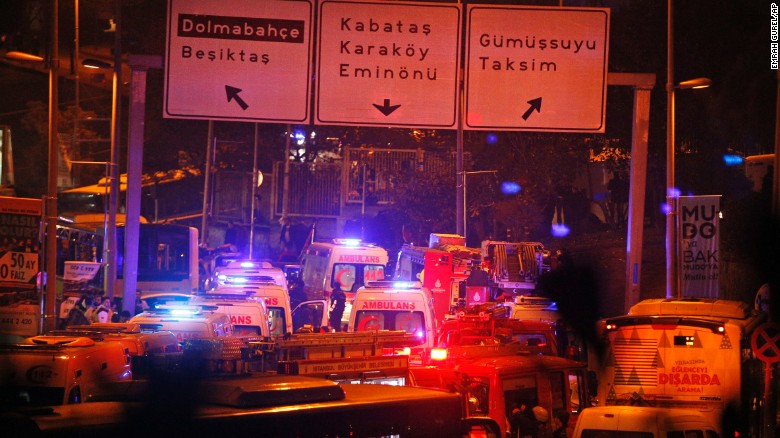 """Rescue services rush to the scene of explosions near the Besiktas football club stadium, following an <a href=""""http://www.cnn.com/2016/12/10/europe/istanbul-explosions/index.html"""" target=""""_blank"""">attack in Istanbul</a> late Saturday, December 10. At least 20 people were wounded after the two blasts, according to Turkey's state news agency Anadolu."""
