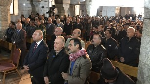 About 300 Iraqi Christians had traveled in buses, mostly from displaced camps in the city of Irbil.