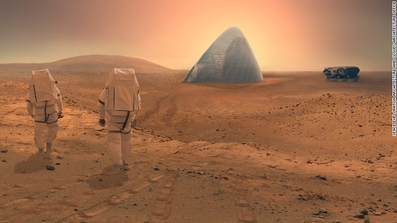 """The Space Exploration Architecture and Clouds Architecture Office took home first prize for their """"ice House"""" design in NASA's 2015 3D-Printed Habitat Challenge."""