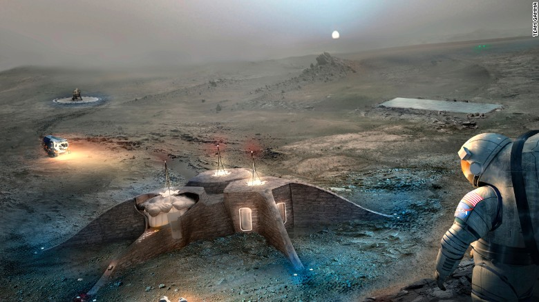 The design competition challenged participants to propose architectural concepts for 3-D printing on Mars. Team Gamma came in second place for there habitat design, pictured here.
