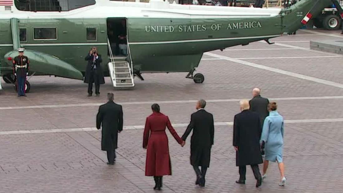 image of Trump, Obama depart inaugural ceremony