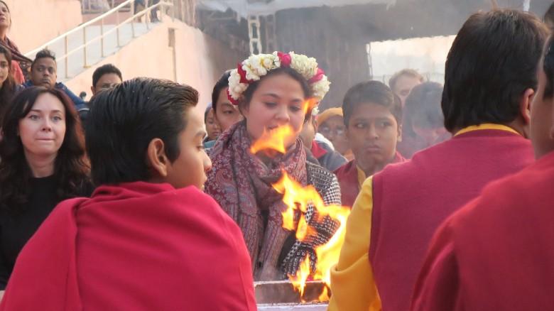 A traditional Ganges aarti ceremony at Parmarth Niketan ashram