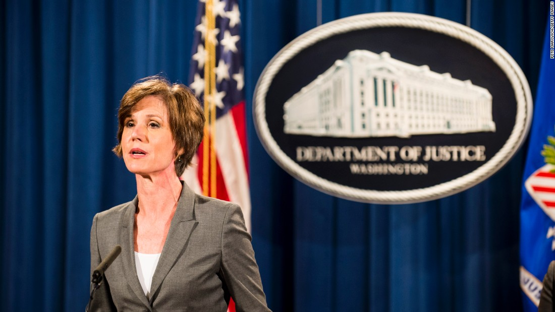 Donald Trump Fired Minister of justice Sally Yates will be celebrated master in the White
