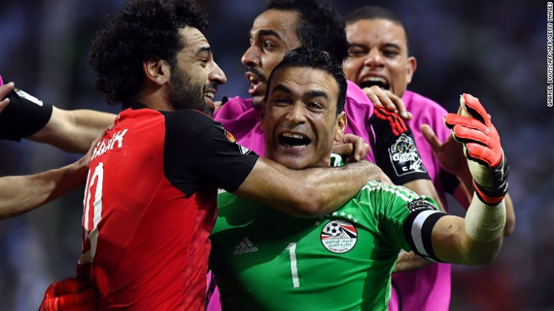 Egypt's 44-year-old goalkeeper Essam El-Hadary was his country's hero Wednesday, saving two Burkina Faso penalties to send the Pharaohs through the the 2017 Africa Cup of Nation.