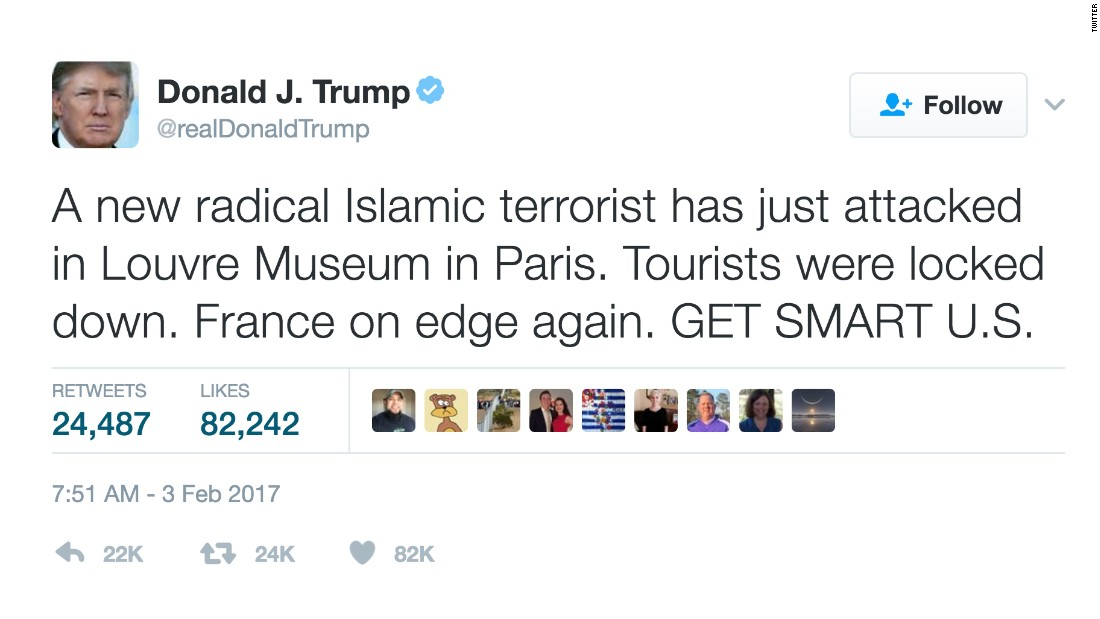 Cnn World News Twitter: Trump Quickly Condemns Louvre Attack, Still Quiet On