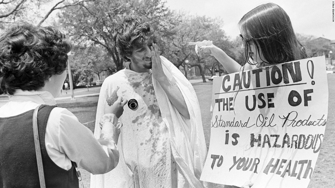 "Dorothy Goldsmith and Rita Webb squirt Kenneth Opat with oil in 1970 at <strong>Tulane University</strong> in New Orleans, where students tagged Louisiana's oil industry with the ""polluter of the month"" award.  The demonstration on April 22 of that year was part of the first annual observance of Earth Day."