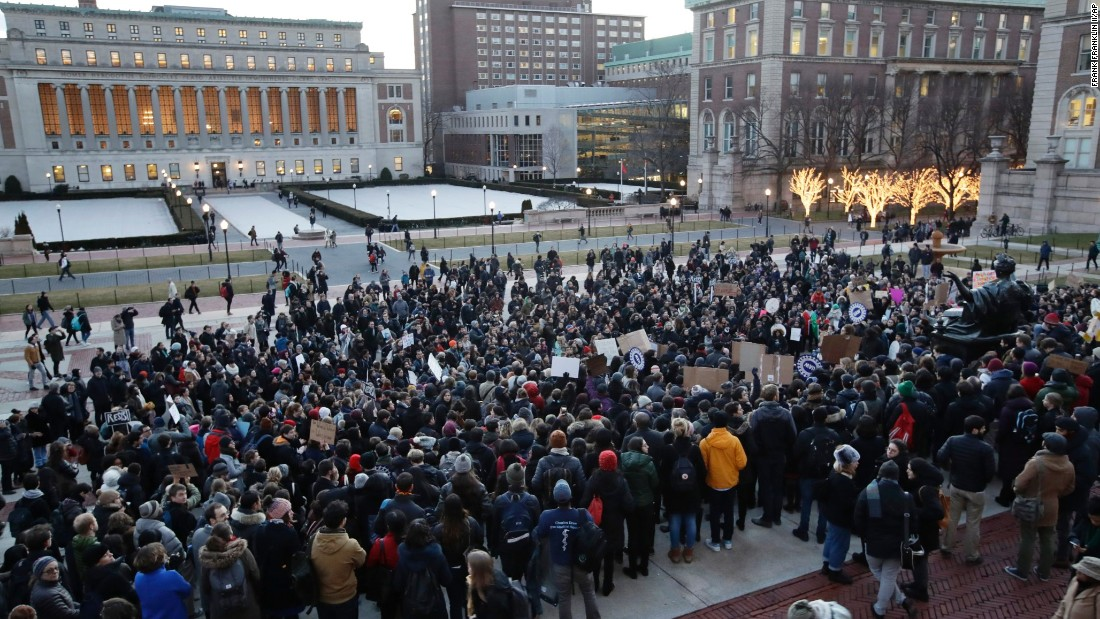 <strong>Columbia University</strong> students gather to protest President Donald Trump's executive order on immigration January 30, 2017, in New York. The executive order banned travelers to the US from seven predominantly Muslim countries.