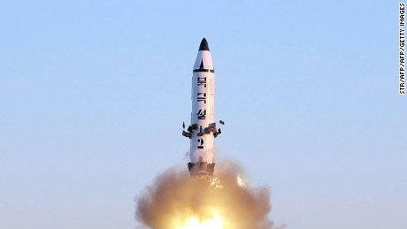 This photo taken on February 12, 2017 and released on February 13 by North Korea's official Korean Central News Agency (KCNA) shows the launch of a surface-to-surface medium long-range ballistic missile Pukguksong-2 at an undisclosed location.