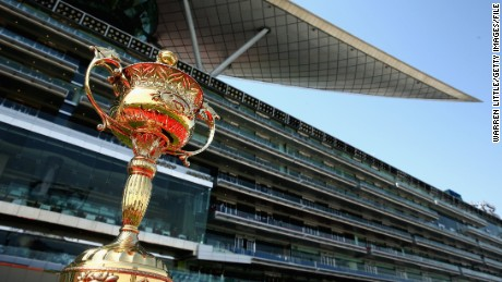DUBAI, UNITED ARAB EMIRATES - MARCH 28:  The Dubai World Cup is pictured ahead of the Dubai World Cup races at the Meydan Racecourse on March 28, 2015 in Dubai, United Arab Emirates.  (Photo by Warren Little/Getty Images)