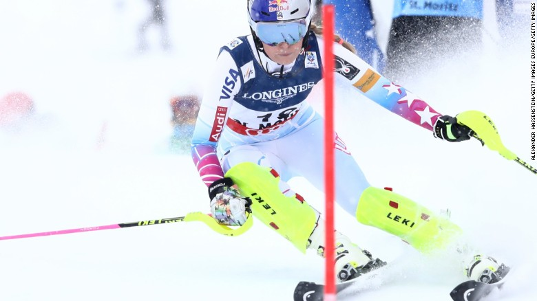 Lindesy Vonn competes in the women's combined slalom during the FIS Alpine World Ski Championships in St Moritz, Switzerland.