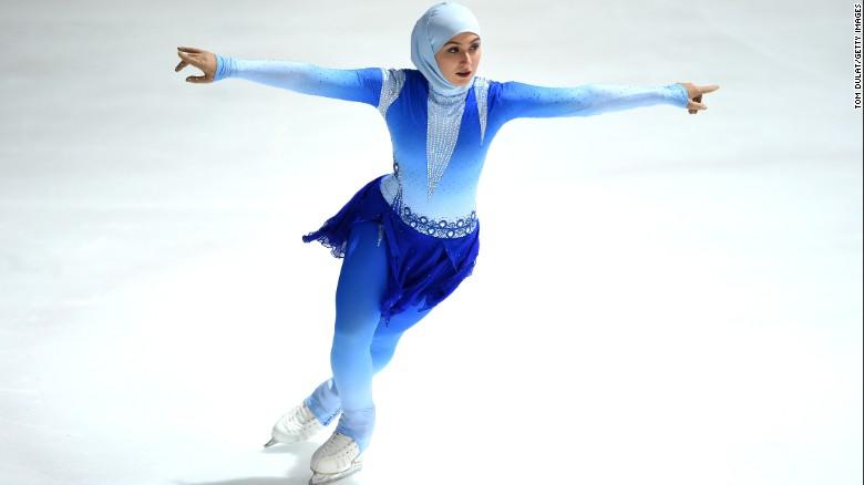 Emirati figure skater Zahra Lari competes last month in Abu Dhabi.