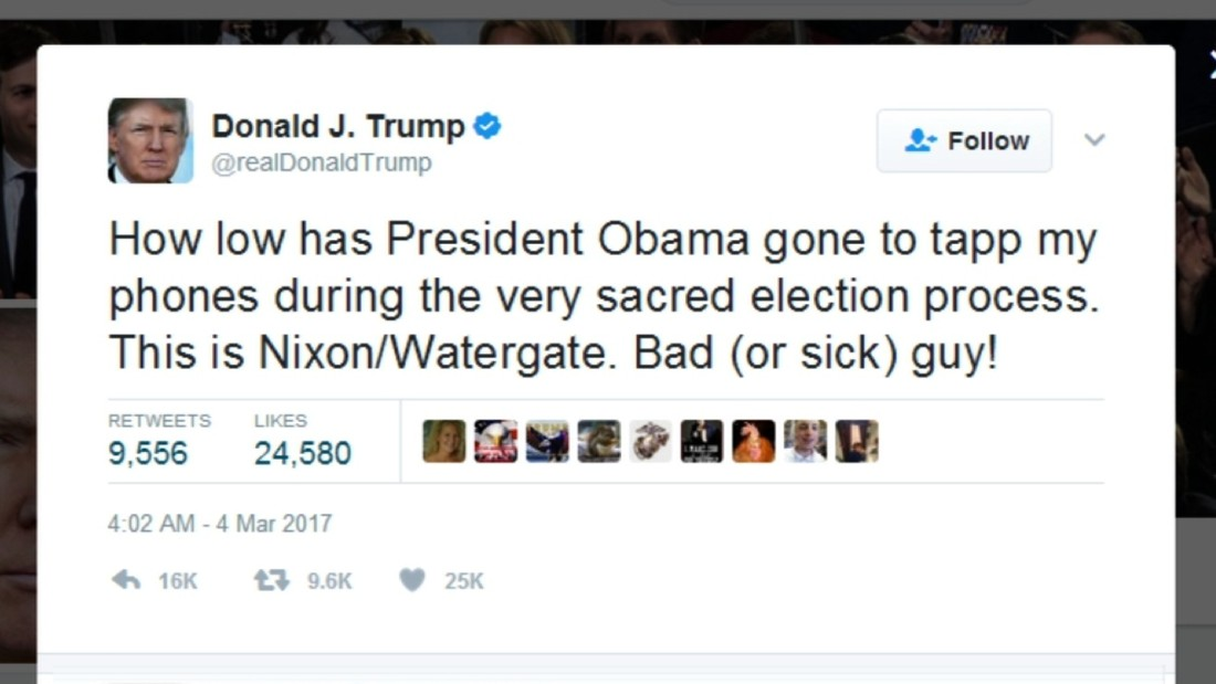 image of Trump accuses Obama of wiretapping him