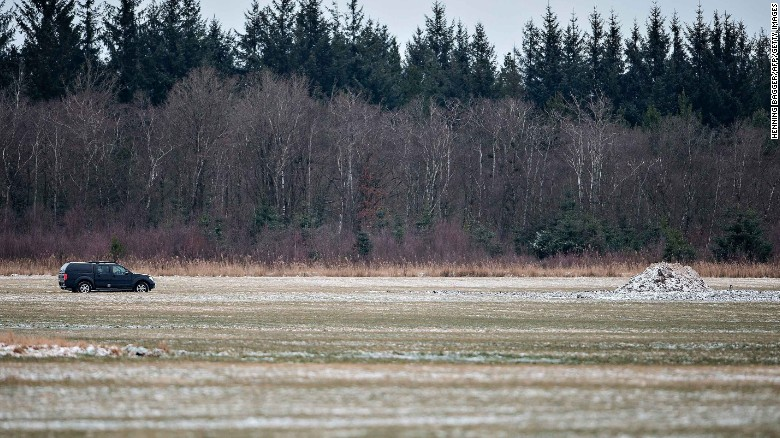 The World War II aircraft was found buried in this field in Northern Jutland.