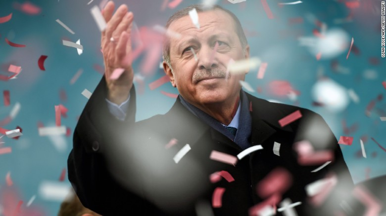Turkish President Recep Tayyip Erdogan compares the Dutch to Nazis in a rally Saturday in Istanbul.