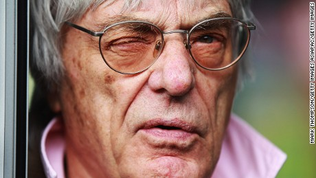 SHANGHAI, CHINA - APRIL 12:  F1 supremo Bernie Ecclestone answers questions in the paddock from the media regarding the forthcoming Bahrain Grand Prix during previews to the Chinese Formula One Grand Prix at the Shanghai International Circuit on April 12, 2012 in Shanghai, China.  (Photo by Mark Thompson/Getty Images)