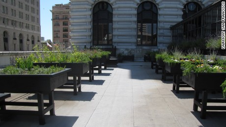 The Fairmont San Francisco's rooftop garden adds flair to its cuisine.