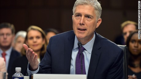 Neil M. Gorsuch testifies before the Senate Judiciary Committee on his nomination to be an associate justice of the US Supreme Court during a hearing in the Hart Senate Office Building in Washington, DC on March 21, 2017.