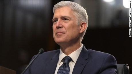 Neil Gorsuch testifies before the Senate Judiciary Committee on the nomination of Neil M. Gorsuch to be an Associate Justice of the US Supreme Court during a hearing in the Hart Senate Office Building in Washington, DC on March 22, 2017. / AFP PHOTO / MANDEL NGAN        (Photo credit should read MANDEL NGAN/AFP/Getty Images)