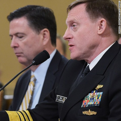 National Security Agency Director Mike Rogers (R) and FBI Director James Comey testify before the House Permanent Select Committee on Intelligence hearing on Russian actions during the 2016 election campaign in the Longworth House Office Building on March 20, 2017 on Capitol Hill in Washington, DC.
