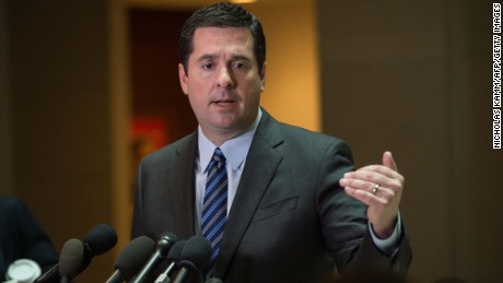 US Representative from California Devin Nunes, chairman of the House Intelligence Committee, speaks to the press about the investigation of Russian meddling in the 2016 presidential election on Capitol Hill in Washington, DC, on March 24, 2017.