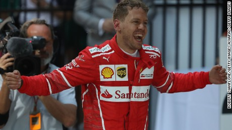 Sebastian Vettel of Germany celebrates his win at the Australian Grand Prix.