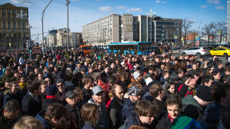 Opposition supporters take part in an unauthorised anti-corruption rally in central Moscow on Sunday.