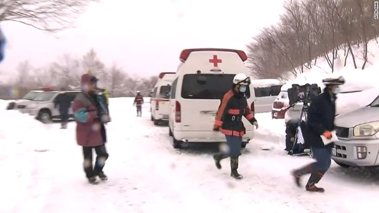 Rescue efforts are being hampered by heavy snowfall.