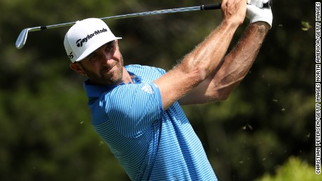 Dustin Johnson tees off on the 4th hole during the final match of the World Golf Championships-Dell Technologies Match Play at the Austin Country Club on March 26, 2017 in Austin, Texas.