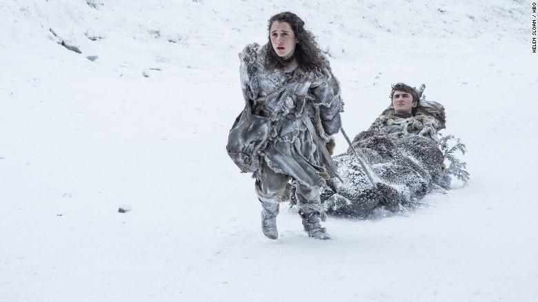 Ellie Kendrick as Meera Reed and Isaac Hempstead Wright as Bran Stark