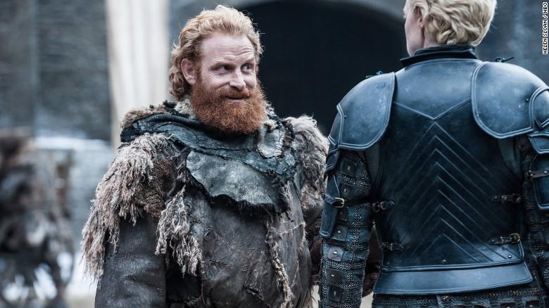 Kristofer Hivju as Tormund Giantsbane and Gwendoline Christie as Brienne of Tarth
