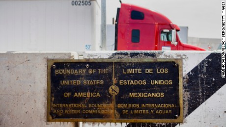 A plaque showing the boundary between the United States and Mexico at the Calexico Port of Entry.
