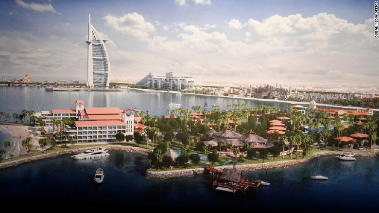 While one island is geared toward tourists with a theme park and marine education complex, the other island will feature luxury residences and a private marina.