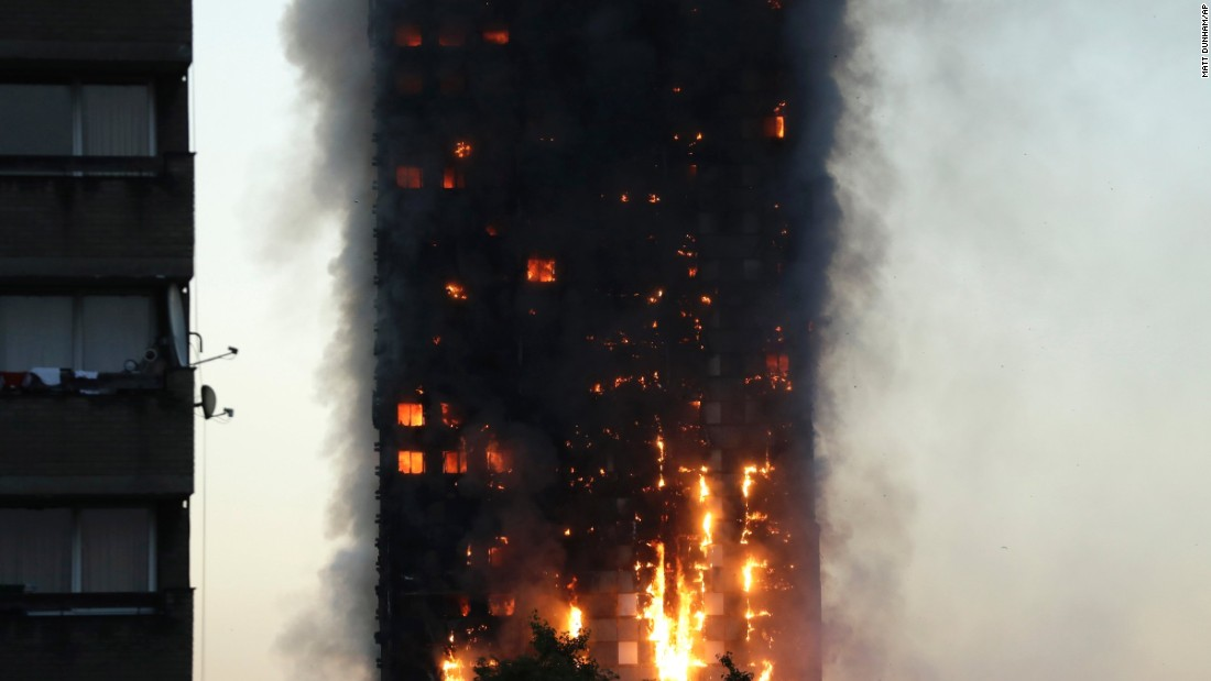 Witness Michael Kyriakou told CNN the fire spread quickly, with one side of the building ablaze around 15 minutes after it started. quot;Within an hour it had engulfed the top part of the building,quot; he said. quot;There are people in bathrobes and slippers all around us, so hopefully as many as possible got out.quot;