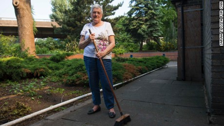 Haley spent the morning sweeping debris away from the communal gardens.