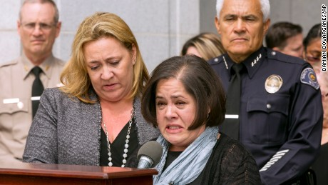 Ana Estevez, the mother of Aramazd Andressian Jr., speaks during a May 17 news conference in South Pasadena, California, as a family friend and Police Chief Arthur Miller stand beside her.