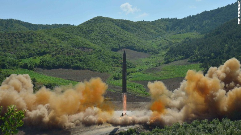 A photo from the North Korean Central News Agency (KCNA) purports to show the missile launch.