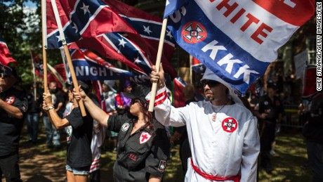 The Ku Klux Klan held a protest in Charlottesville against the removal of a Condeferate monument.