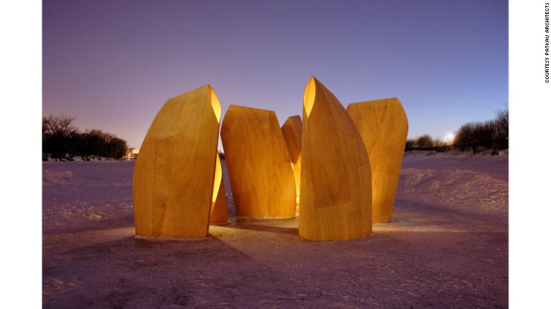 From its humble beginnings, plywood has risen to become one of the design world's favorite materials. Patkau Architects used it to create these Winnipeg ice skating shelters in 2012.