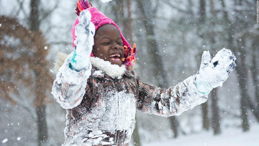 Mata saw snow in the US, a rarity in Uganda. Upon her return, she shared this picture with other children in her village.<br />