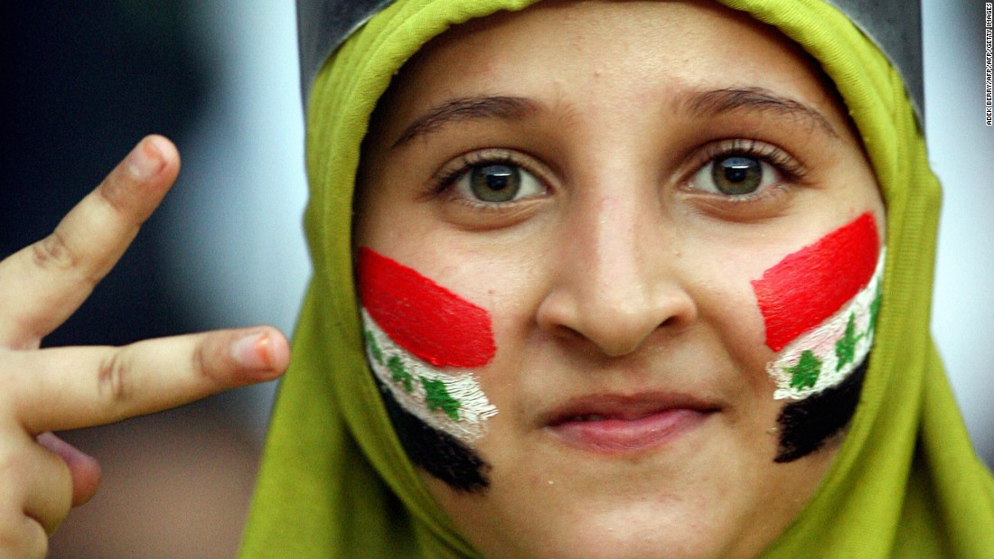 An Iraqi fan cheers for her team at the 2007 Asian Cup.