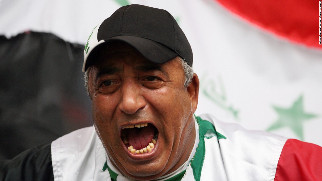 An Iraqi football fan supports his team before the semi-final match between Iraq and South Korea.
