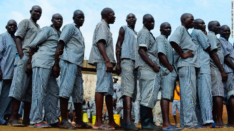 Inmates vote at Kisumu prison. This is the first time that inmates in Kenya are allowed to vote; they are only permitted to vote for presidential candidates.