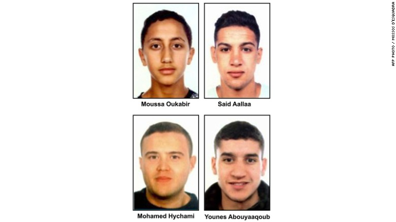 Handout images released by the Catalan regional police on August 18 shows four suspects of the Barcelona and Cambrils attacks (from top L): Moussa Oukabir, Said Aallaa, Mohamed Hychami and Younes Abouyaaqoub.