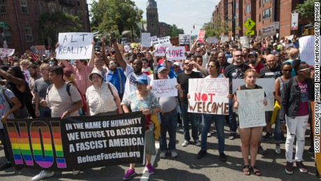 BOSTON, MA - AUGUST 19: Thousands of counter protesters marching to a planned 'Free Speech Rally' on Boston Common on August 19, 2017 in Boston, Massachusetts. Thousands of demonstrators and counter-protestors are expected at Boston Common where the Boston Free Speech Rally is being held. (Photo by Scott Eisen/Getty Images)