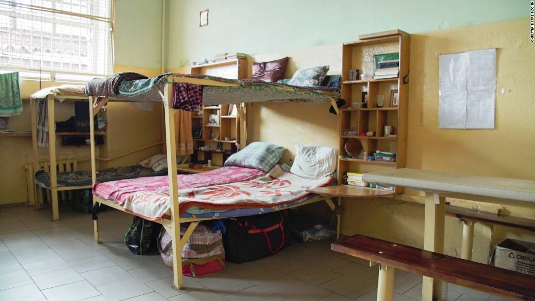 X5 shares a cell with 8 other convicts, and sleeps in a double bunk bed.