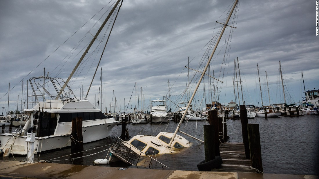 Boats are damaged in Rockport on August 26.