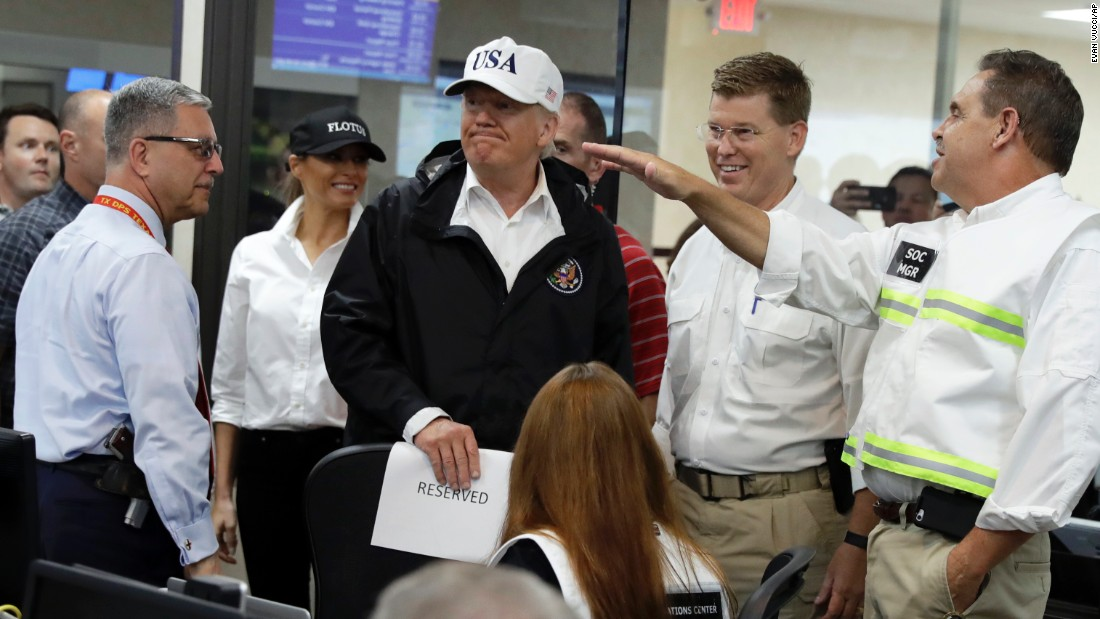 "President Donald Trump tours the Emergency Operations Center in Austin, Texas, on August 29. While in Austin, Trump warned of the long-term effort and stiff costs that will be needed to rebuild the region. ""The sad thing is that this is long-term,"" Trump said. ""Nobody's ever seen anything this long. Nobody's seen this kind of water. Probably, there's never been something so expensive in our country's history."""