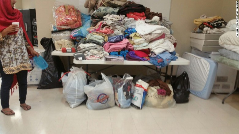 Clothing donations at the Brand Lane Islamic Center in Stafford, Texas, which is serving as a shelter.