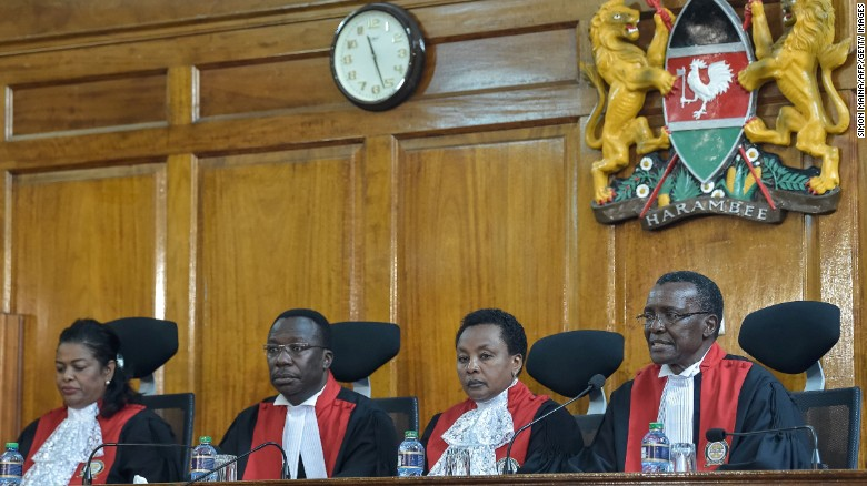 Kenyan Supreme Court judges uphold an opposition petition challenging the result of the August 8 presidential election in Nairobi.