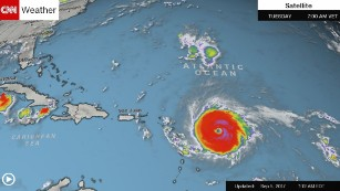 Hurricane Irma is shown in the Atlantic at 7:12 a.m. ET Tuesday.